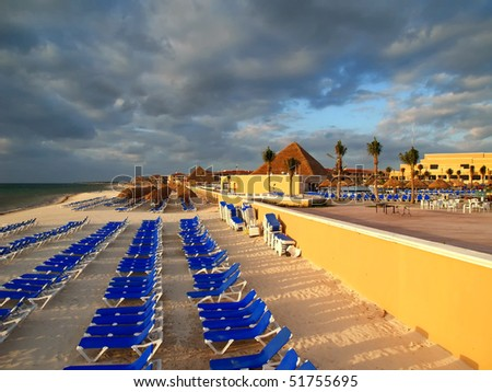 a family cancun beach resort in Mexico - stock photo