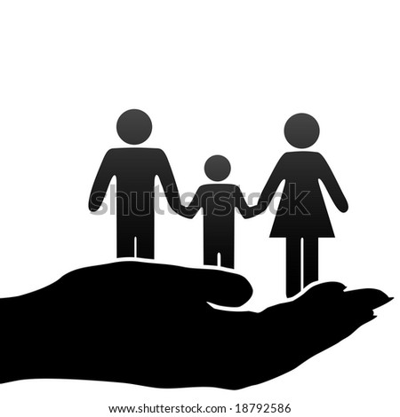 A family of mother, father, child symbols are held in a cupped hand. - stock photo
