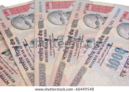 A fan of one thousand rupee notes (Indian Currency). - stock photo