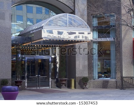 A fancy upscale hotel and restaurant bar entrance - stock photo