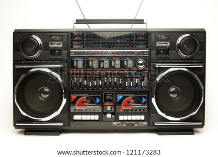 a fantastic looking oversized black retro ghetto blaster radio - stock photo