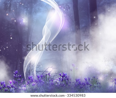 A fantasy background with purple flowers and magic effects. - stock photo