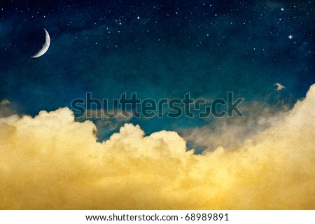 A fantasy cloudscape with stars and a crescent moon overlaid with a vintage, textured watercolor paper background. - stock photo