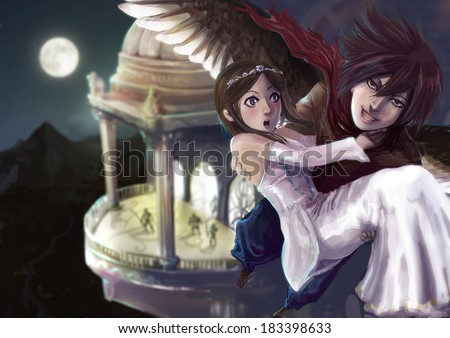 A fantasy illustration of a wing man stealing the princess out of the castle - stock photo