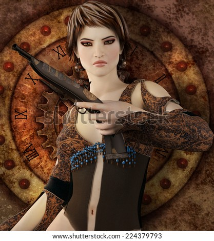 A fantasy image of a woman with a gun and steampunk clock behind her. - stock photo