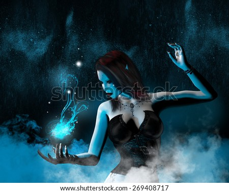 A fantasy image with an elf casting a magic spell with blue light and mist surrounding her. - stock photo