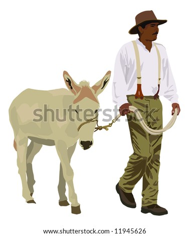 A farmer in old fashioned clothes leads a mule - stock photo