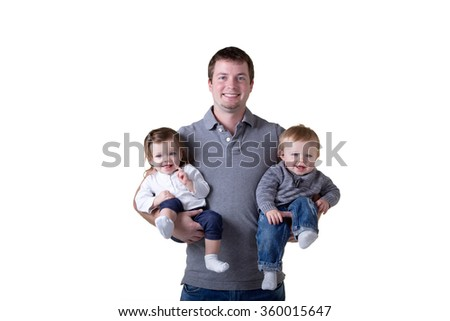A father and his twin babies - stock photo