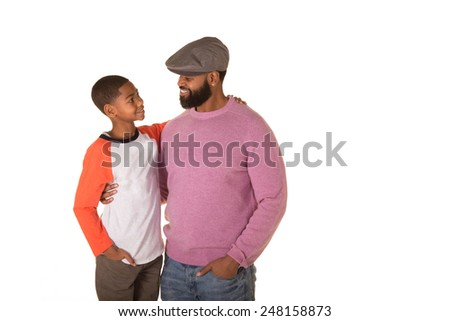 A father and son isolated on white - stock photo