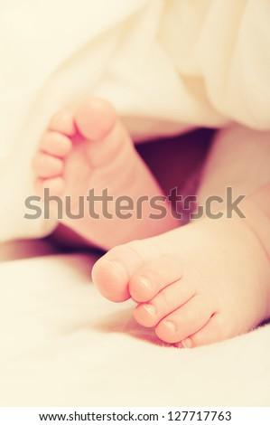 A feet of  a newborn baby sleeping - stock photo
