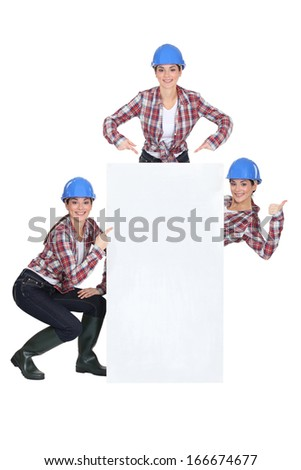 a female builder - stock photo