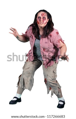 A female halloween zombie on white - stock photo