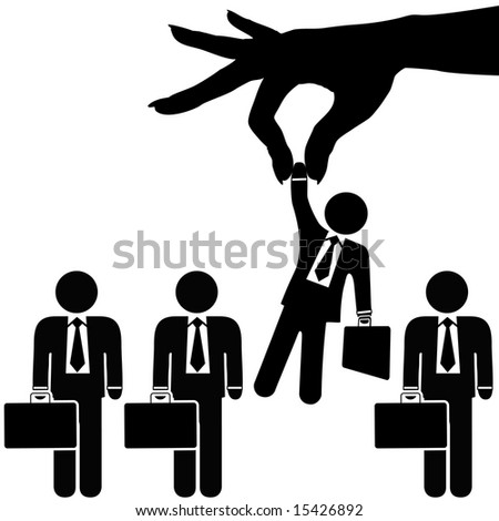 A female hand to find, select, choose, pick a businessman to dangle above a line of business people for employment, recognition, promotion, hire, etc. Includes clipping paths. - stock photo