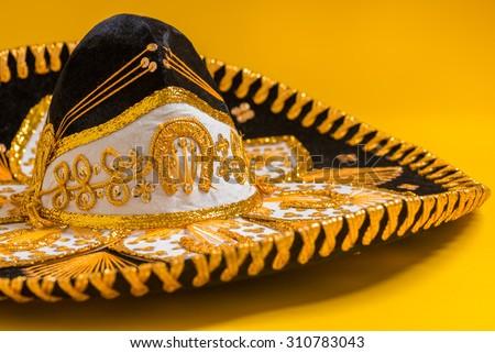 A festive black mexican, felt mariachi sombrero - stock photo