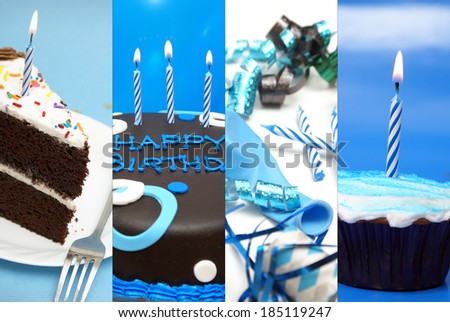 A festive collage of birthday images to celebrate the occasion. - stock photo