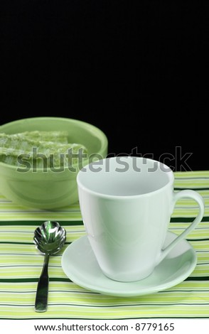 A festive table setting for coffee and lunch - stock photo