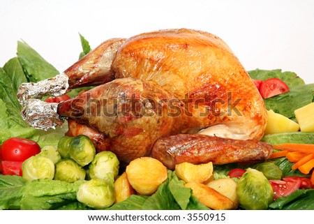 A festive turkey on a platter with an assortment of vegetables. - stock photo
