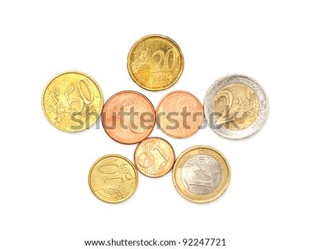 A few euros coins on white - stock photo