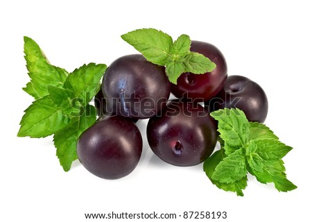 A few plums with sprigs of green mint isolated on white background - stock photo