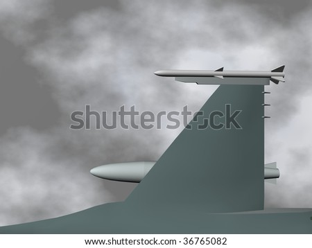 A fighter plane flying in sky. - stock photo