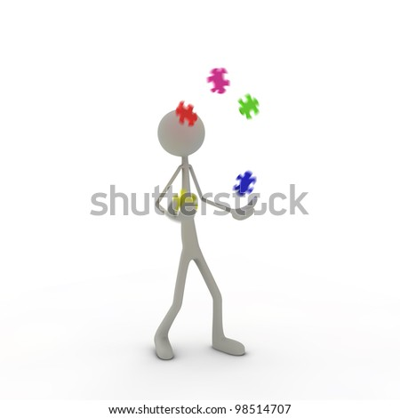 a figure is juggling with puzzle pieces - stock photo