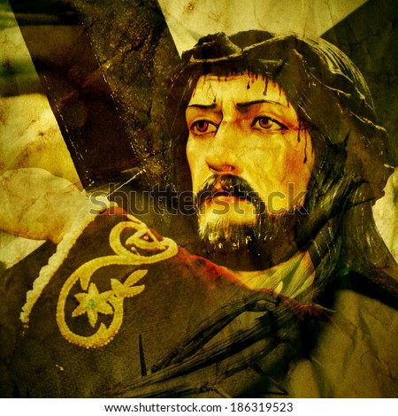 a figure of Jesus Christ carrying the Holy Cross, with a retro effect - stock photo