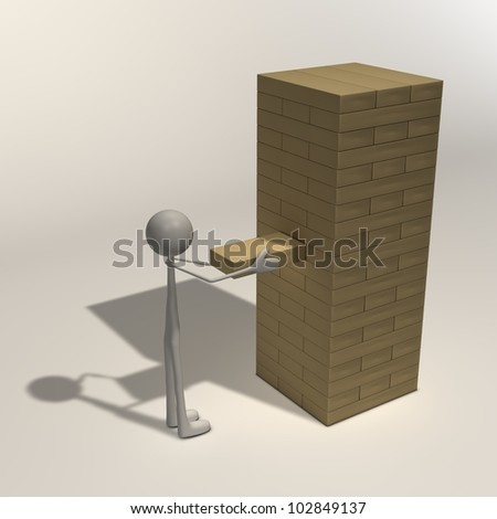 a figure starts playing Jenga and take first move - stock photo
