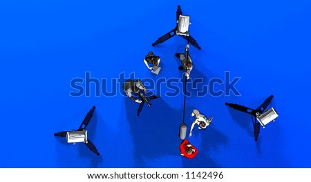 a film or video set with lights a camera a director - stock photo