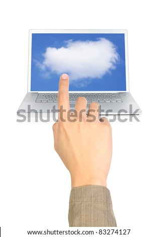 a finger pointing cloud computing on white - stock photo