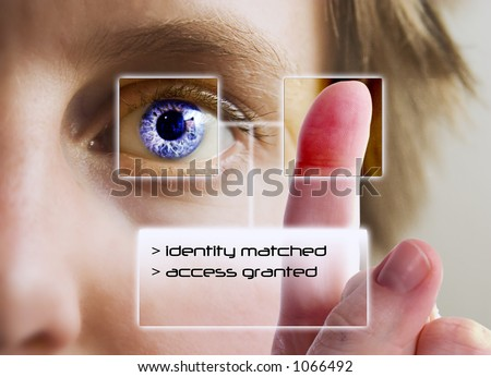 A finger print being compared to an iris scan. - stock photo