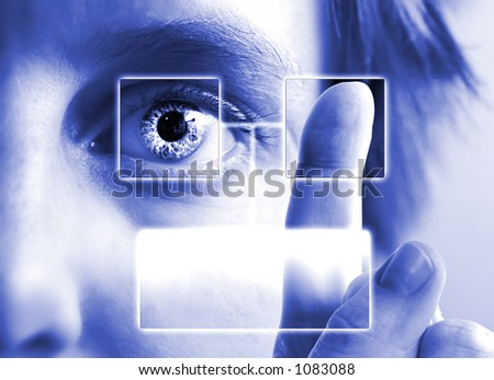 A finger print being compared to an iris scan with empty text box. - stock photo