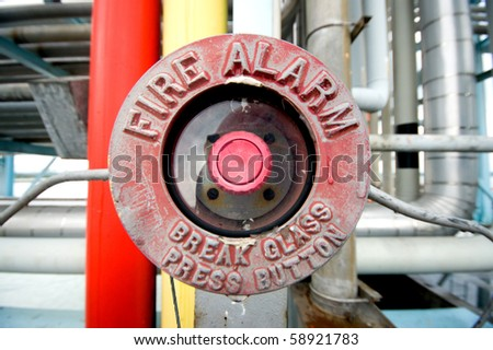 a fire alarm at oil terminal pipeline - stock photo