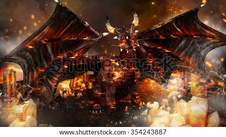 A fire dragon in a cave with flaming crystals and mysterious tablets with runes on them. - stock photo