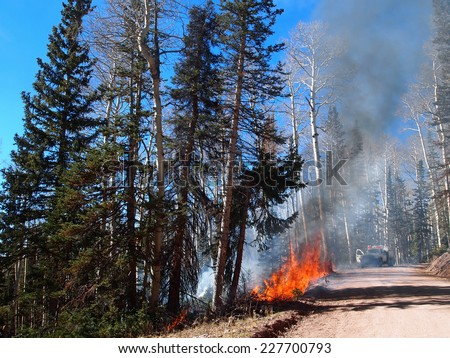A fire engine responds to a forest fire. - stock photo