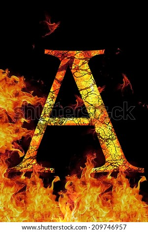 A fire letter cracked on black background - stock photo