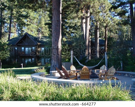A Fire Pit at Lake Tahoe - stock photo