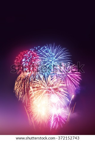 A Fireworks Display. A large fireworks event and celebrations. - stock photo