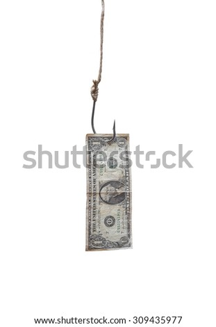 a fish hook with a dollar banknote - stock photo