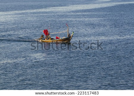 a fisher boat - stock photo