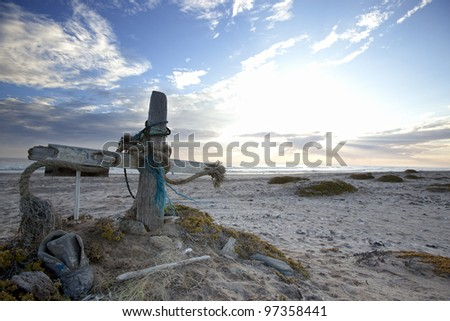 A fisherman cross on the Skeleton Coast of Namibia - stock photo