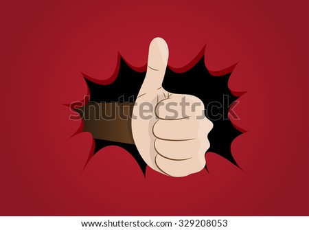a fist with thumb up has broken poster - stock photo