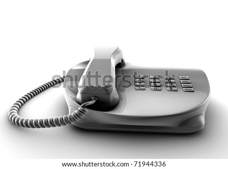 A fix phone isolated on white 3d render - stock photo
