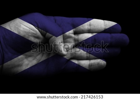 A flag embellished with the flag of Scotland (St. Andrew's Cross) on White - stock photo