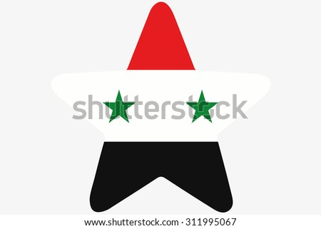 A Flag Illustration inside a star of the country of Syria - stock photo