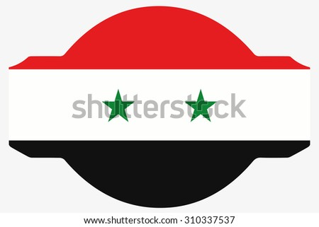 A Flag Illustration within a Sign of the country of Syria - stock photo