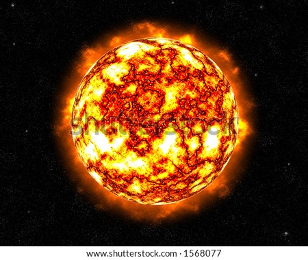 A flaming flaring sun in space - stock photo