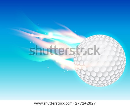 A flaming golf ball flying in the sky. - stock photo