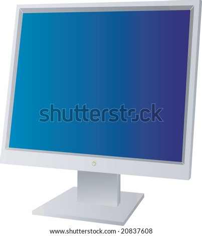 A flat screen monitor with a blue background isolated - stock photo