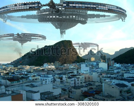 A fleet of unidentified flying objects, above buildings in Rio de Janeiro, Brazil, for futuristic, fantasy, interstellar travel or war-game backgrounds. - stock photo