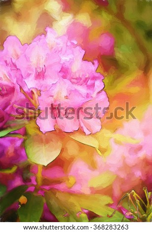 A flowering pink rhododendron bush transformed into a colorful painting - stock photo